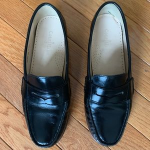 Cole Haan black patent penny loafers